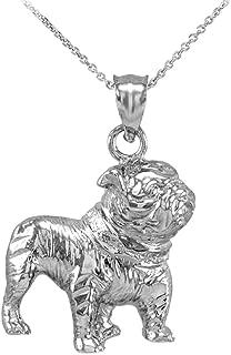 Polished 925 Sterling Silver English Bulldog Charm Pendant Necklace