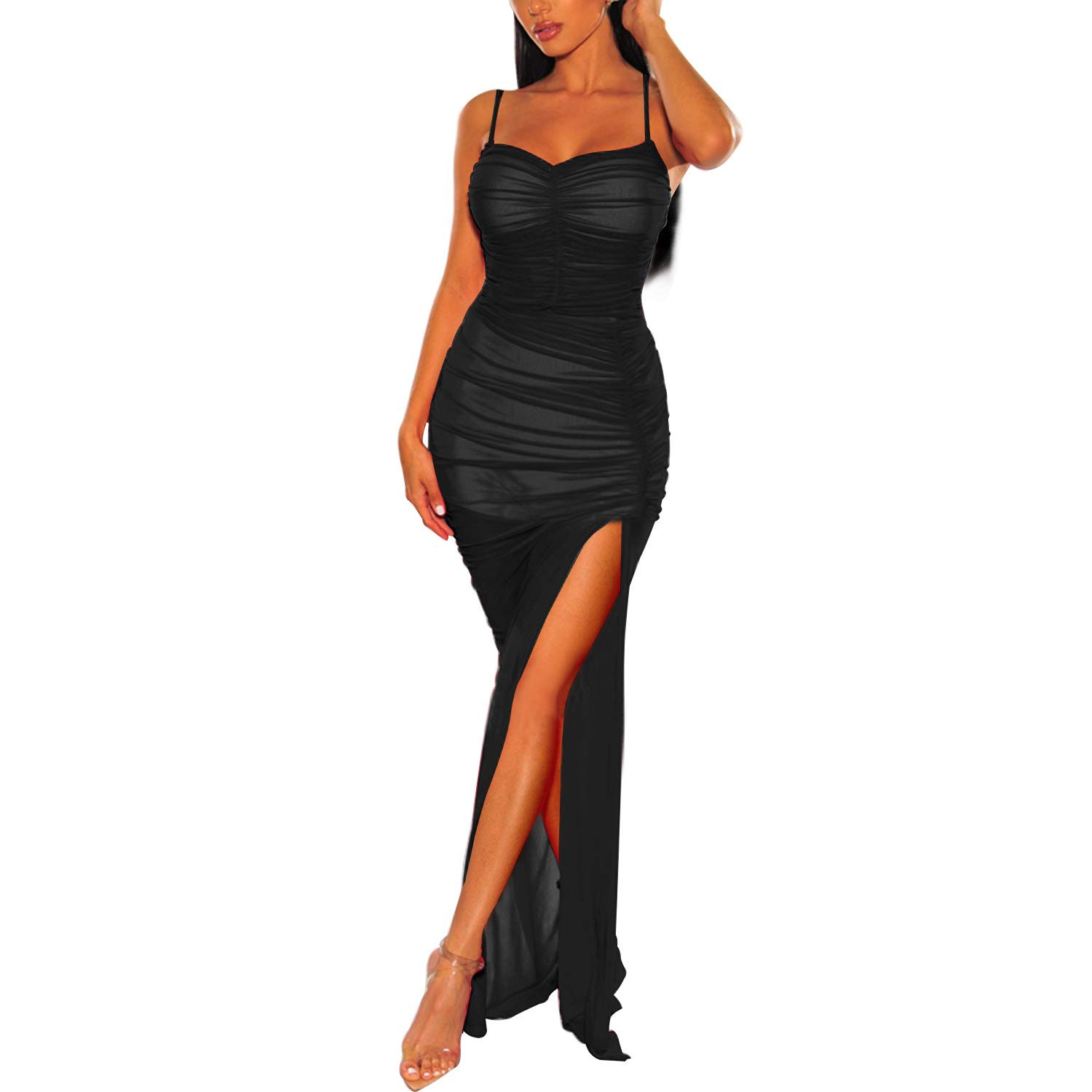 Available at Amazon: Cosics Long Cami Dress Ruched Bodycon Solid Black Mesh Dress Spaghetti Strap Maxi Dress with Slit for Cocktail Party
