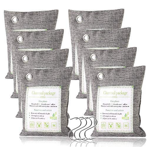 Haliluya Bamboo Charcoal Air Purifying Bags (8 Pack), Activated Charcoal Bags Odor Absorber Pet Friendly - Nature Fresh Air Purifying Bags for Home, Car, Shoes, Closet, Basement - 8 x 200g