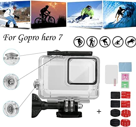 Fullfun for Gopro Hero 7 White/Silver Waterproof Protection Housing Case Shell 45M Protective for Gopro Hero 7 Camera