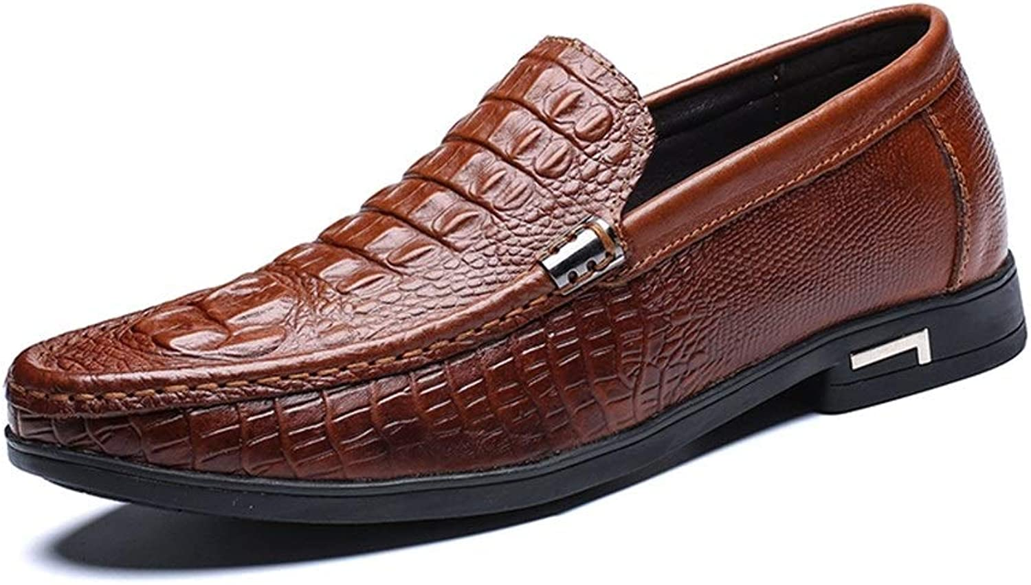 Business shoes for Men Genuine Leather Comfortable Breathable Dress Casual Embossed Loafers Anti-Slip Flat Slip-on Round Toe (color   Brown, Size   6.5 D(M) US)