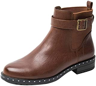 Yolanda Zula Women's Chelsea Boots Slip-on Low Heel Pointed Toe Ankle Booties with Rivets
