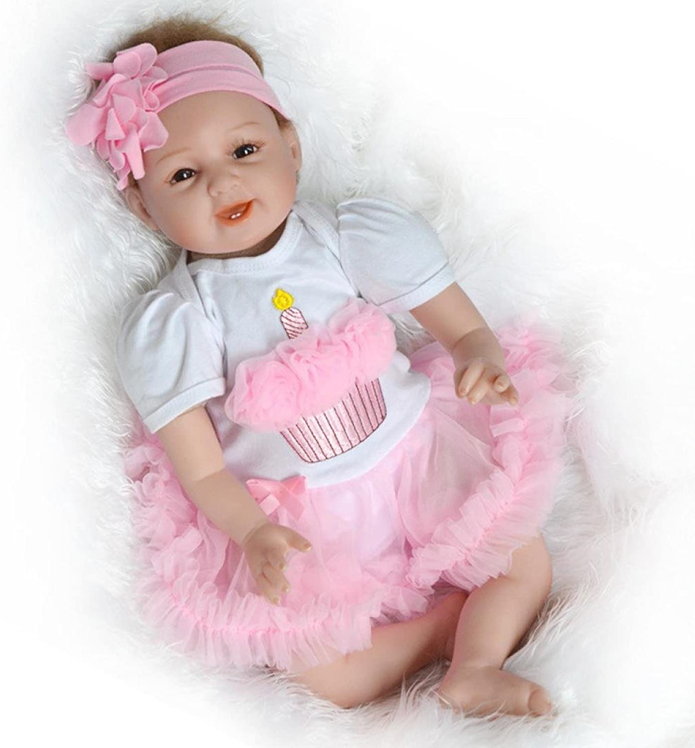 Kingko_ 22inch Reborn Newborn Baby Dolls, Look Real Soft Silicone Lifelike Full Body reborn Doll with Baby Clothes for Toddler Boys Girls Birthday Gift (Pink&White)