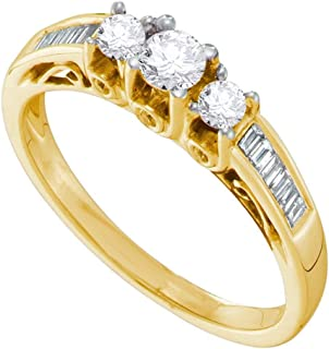GemApex Three Stone Diamond Engagement Ring Solid 14k Yellow Gold Promise Band Round Baguette Bridal 1/2 ctw