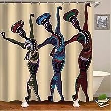 hysxm Conjunto De Cortina De Ducha Étnica Chicas Africanas Antiguas Que Bailan Bathrooom Cortinas De Ducha-180(H)*200(W) Cm