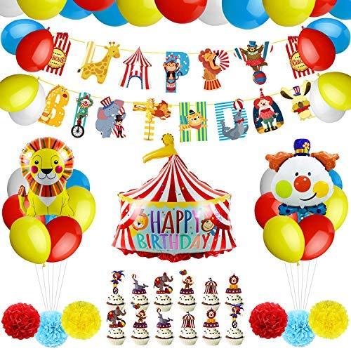 PushingBest Geburtstagsdeko, Zirkus Geburtstag Party Deko Set, Zirkus Banner, Clown, Löwe, Alles Gute zum Geburtstag Folienballons, Papiergewebe Pompons, Latexballons und Cake Topper