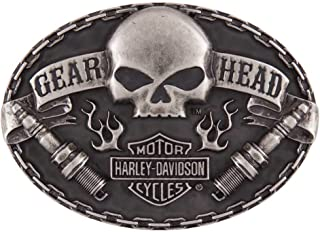 Harley-Davidson Men's Gear Head Belt Buckle, Antique Nickle Finish HDMBU11501