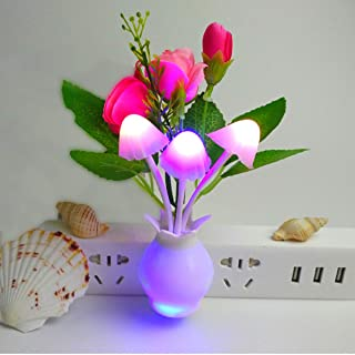 4 Pack Light Control Intelligent Induction Colorful Lights led Night Light, Mushroom Head Artificial Flowers LED Night Light 3 Color Rose, Purple Peony, Plug and Play (Seven Color Gradient Lights)