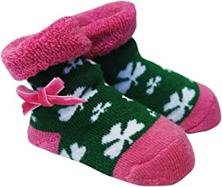 Green and Pink Baby Boots With White Shamrocks and Pink Ribbon