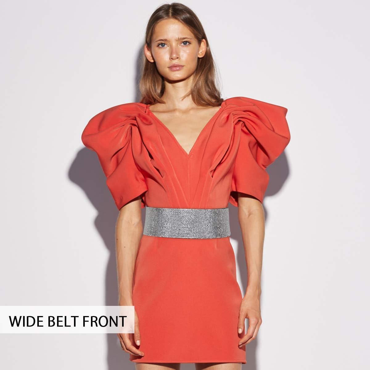LumiSyne Fashion Leather Elastic Waist Belt For Women Shiny Diamond Rhinestone Decorated Stretch Belt No Buckle Dress Belt