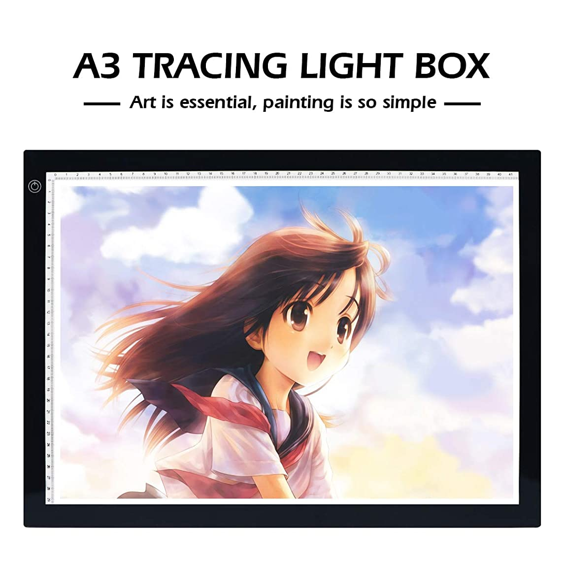 UKON A3 LED Light Box Drawing Light Pad Art Tracing Xray Light Board for Tracer Kids Artists Diamond Painting with Dimmable Brightness for Embroidery Sketching Animation Stenciling (A3 with Stand)
