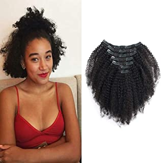 "HIKYUU 8"" African Americans Kinkys Curly Hair Extensions Clip in 4c for Beautiful Black Women 60g 7pcs Short Curly Clip in Hair Extensions Human Hair"