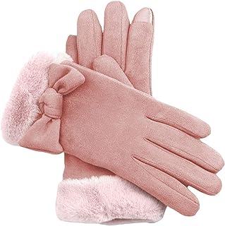 Ommda Damskie rękawice zimowe z ekranem dotykowym kokarda termiczne polarowe wyściełane rękawiczki do jazdy na zewnątrz