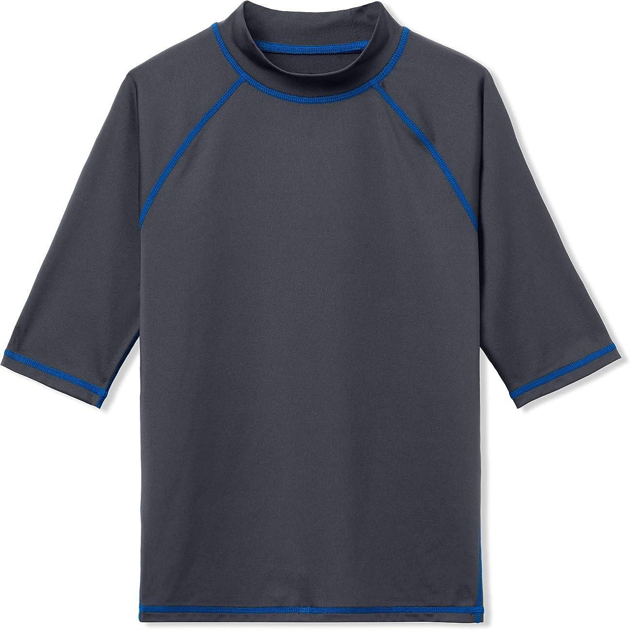 TSLA UPF 50+ Youth Kids Rash Guard Short Sleeve, UV/SPF Surf Swim Shirt, Aqua Water Swimsuit Top: Clothing