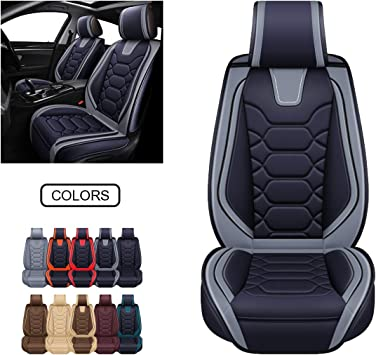 OASIS AUTO Leather Car Seat Covers, Faux Leatherette Automotive Vehicle Cushion Cover for Cars SUV Pick-up Truck Universal Fit Set for Auto Interior Accessories (OS-004 Front Pair, Black&Grey): image