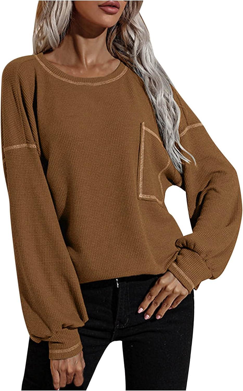 Women's Plus Size Fall Sweatshirt Loose Crew Neck Kaftan Batwing Waffle Knit Retro Sweater Pullovers Blouse with Pocket