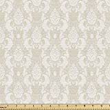 Lunarable Cream Fabric by The Yard, Old Fashioned Damask Motifs Pattern Floral Antique Art Inspiration Vintage Revival Style, Decorative Fabric for Upholstery and Home Accents, 1 Yard, Beige