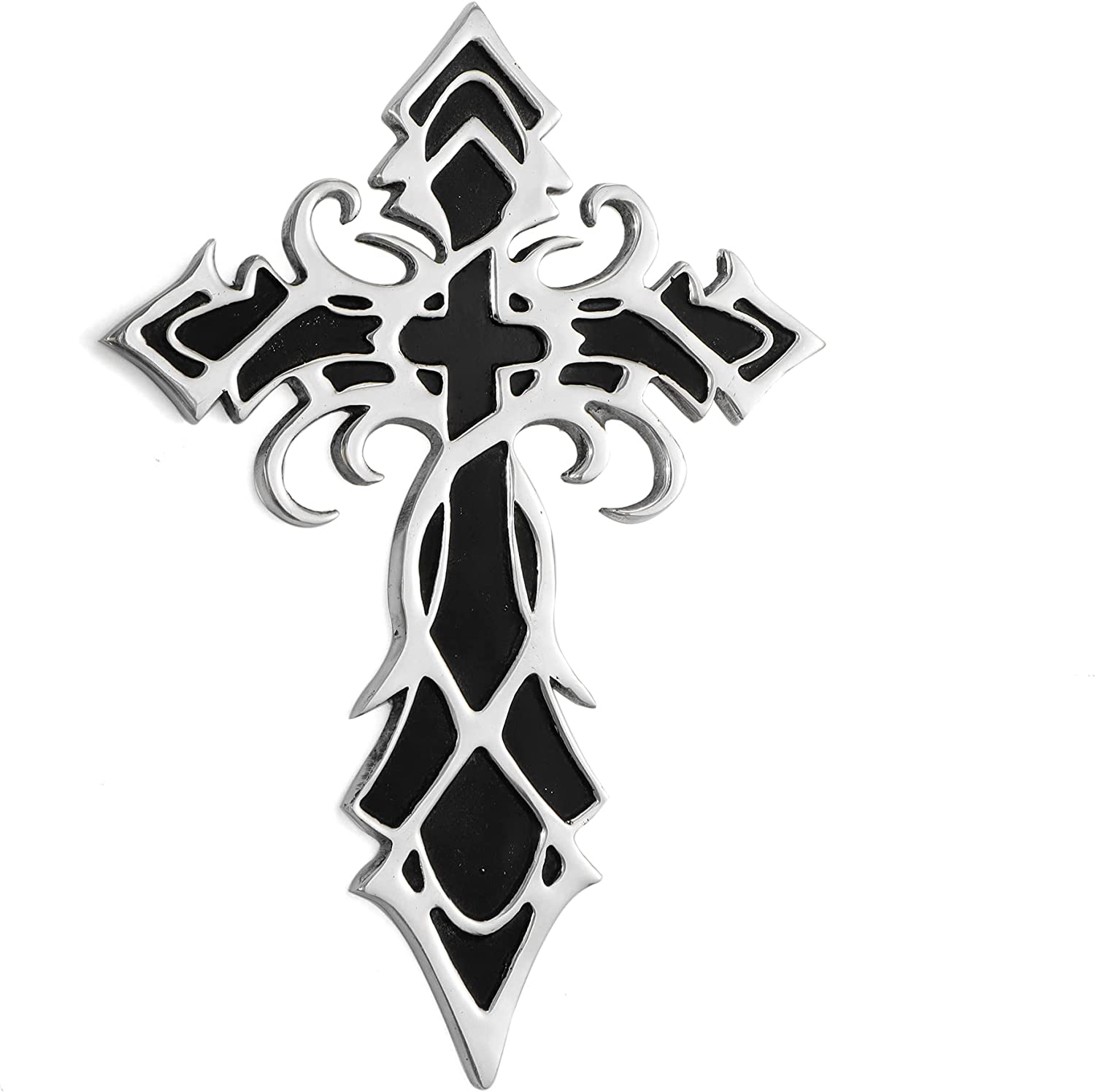 Decorative Large Tribal Design Cross Decorations For Wall - Hanging Cross Wall Decor, Best For Home, Office And As A Gift - Handcrafted, Finished in Silver & Black, 11.5