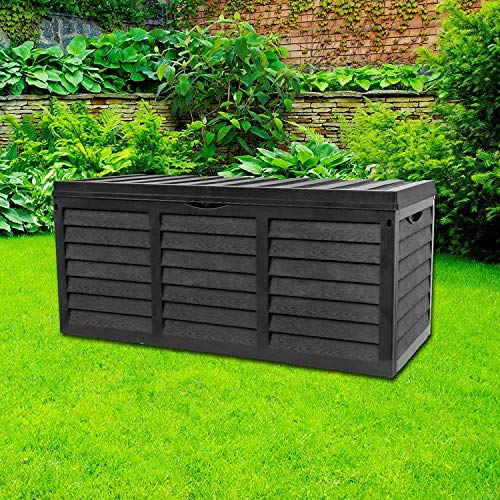 GR8 Garden 320 Litre Black Plastic Storage Box Lid Patio Shed Utility Cushion Chest Wooden Fence Panel Effect Large Truck Indoor Outdoor Furniture