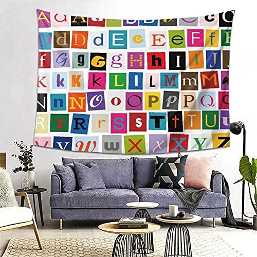 FOURFOOL Tapiz,Alfabeto para niños Herramienta de aprendizaje educativo ABC para niños y bebés Letras del alfabeto grandes de la A a la Z Tipografía colorida,Decoración de la Arte de la Pared Tapiz