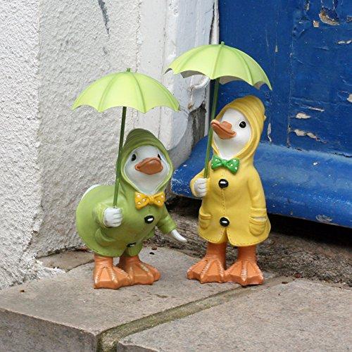 Dilly and Dally Garden Ducks, garden ornaments, Pair of Ducks, 21cm high with detachable umbrellas