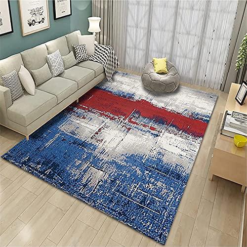 Alfombra Pasillo,Alfombra Azul y roja, patrón de Tinta Sofá estático antiestático de la Alfombra de vacío fácil ,alfombras a Medida -Azul_200x280cm
