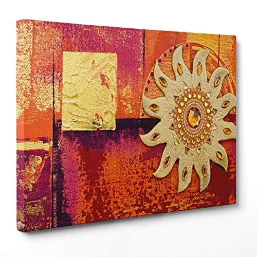 Cuadro sobre lienzo Canvas–ConKrea–Listo para colgar–Arte Abstracta africana–Indiana–Mandala