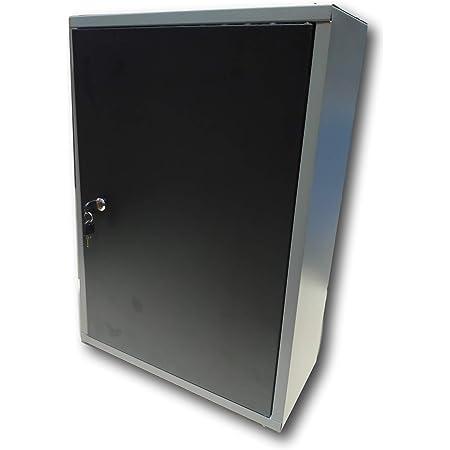 METALLMOBELL.-MB01 ARMARIO DE HERRAMIENTAS METALICO DE PARED 80X40X20Cm, ORGANIZACION PROFESIONAL PARA EL GARAJE TALLER Y TERRAZA EXTERIOR, ARMARIO CON CERRADURA, LLAVE Y PANEL RANURADO (GRIS/NEGRO)