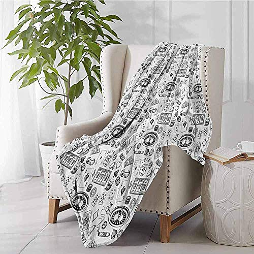 mallcentral-EU Kasino-Bett-warme Decken-Hand gezeichnetes Art-Monochrom-Muster mit Roulette-Karten-Zigarre Whisky Chip Money Black White