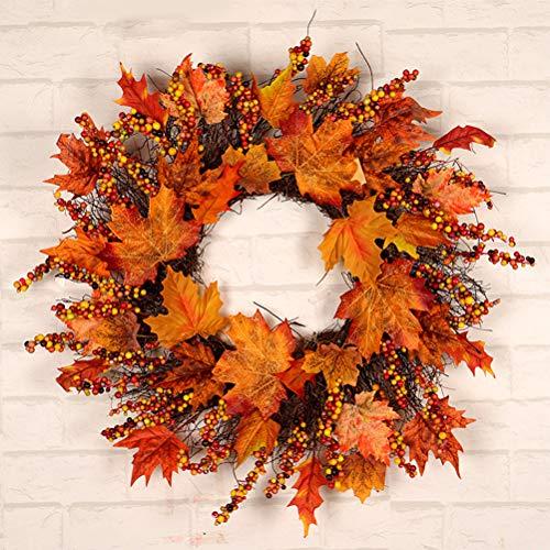 EqWong Foglia dacero, Ghirlanda di Foglie dacero Appeso allo sportello, Ornamento di Vite Autunnale dautunno Foglie dacero Foglia dacero per Halloween, Giorno del Ringraziamento