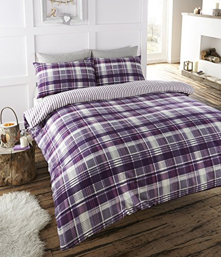 Angus Flanelette Double Quilt Duvet Cover and 2 Pillowcase Bedding Bed Set, Tartan Check - Purple/White/Plum