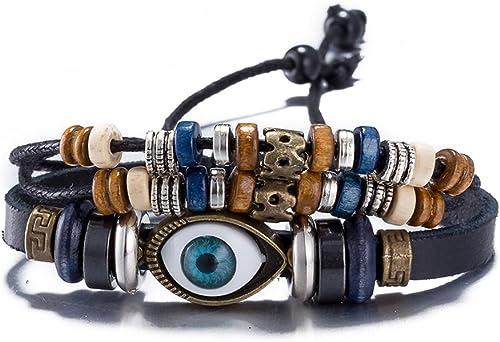 Bulles Eye Leather Wrap Bracelet For Men And Boys Casual Wear Fashion Jewellery