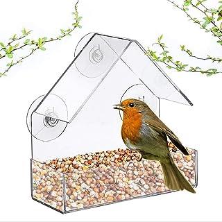 GT Window Pet Bird Feeder Innovative Adsorption Type House Shaped Feeding Tool Transparent Acrylic Weatherproof Design,Squ...
