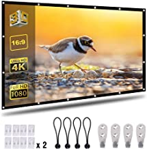 Coolwoo 120 inch Projector Screen, 16:9 HD Foldable Portable Anti-Crease Indoor Outdoor Movie Screen Double Sided Projection for Home Theater Gaming Office