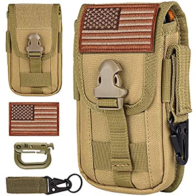 """IronSeals Tactical Cell Phone Holster Pouch, Smartphone Pouch EDC Cellphone Case Molle Attachment Gadget Bag Belt Waist Bag for 4.7""""-6.5"""" with Armor Case on with US Flag Patch, D-Ring and Gear Clip by IronSeals"""