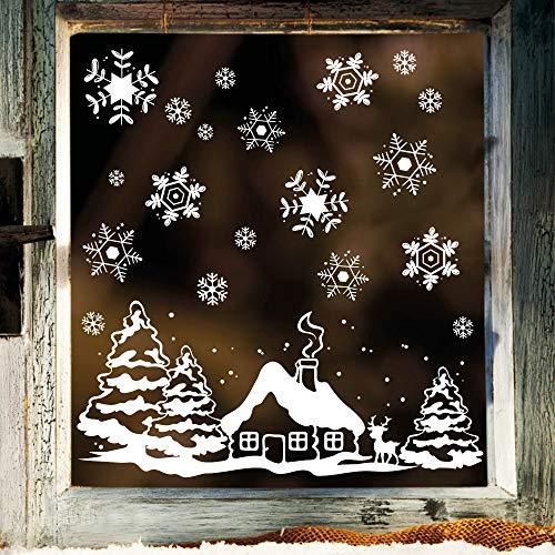 Fensterbild Weihnachten Fenstersticker Häuschen mit REH und Winterlandschaft WIEDERVERWENDBAR
