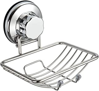 SANNO Suction Soap Dish Holder,Soap Saver Soap Holder Soap Tray Bar Soap Sponge Holder Vacuum Suction Cup Bar Soap Sponge Holder for Shower, Bathroom, Tub and Kitchen Sink - rust proof stainless steel