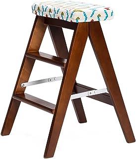 HLD Taburete Plegable Creativo de la Madera sólida de los 59cm Taburete Plegable de la Escalera Taburete de Cocina Taburete portátil Que dobla el Banco casero Sillas (Color : A)