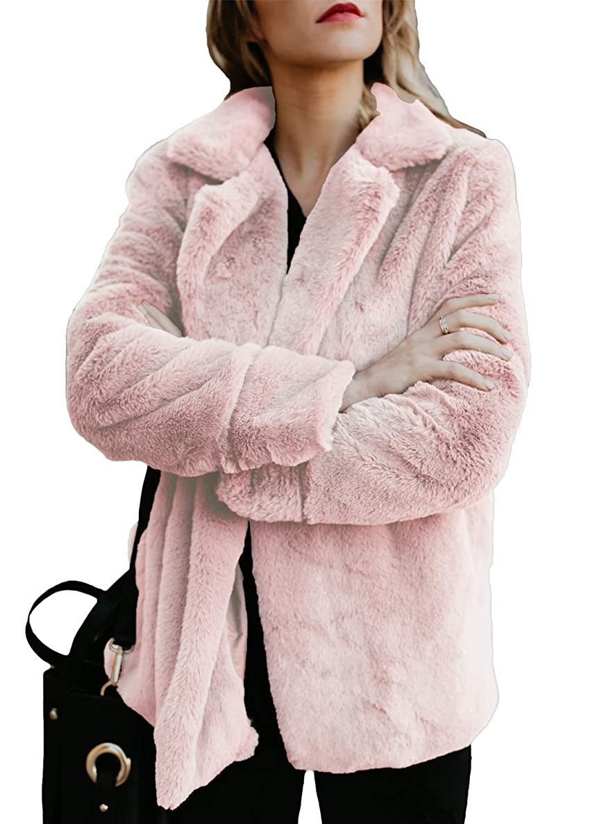 Dokotoo Womens Fleece Casual Open Front Jacket Coat with Pockets Outerwear