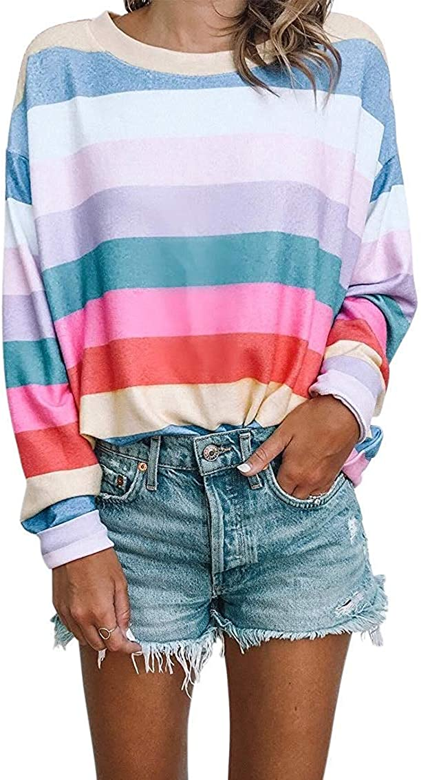 Women Long Sleeve Tops - Oversized Rainbow Striped Tunics Blouses T Shirt Pullover Sweatshirt