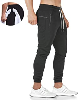 JustSun Mens Tracksuit Bottoms Joggers Slim Fit Jogging Sweatpants Trousers for Men with Zip Pockets