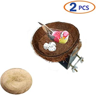 Birds Nest Natural Coconut Shell Bird Breeding Hatching Nest Parrot Nesting Box Cage Hatch House Hut Cave for Budgie Parakeet Cockatiel Parakeet and Parrot Cage Hatching Nest Accessories Toys 2 Pack