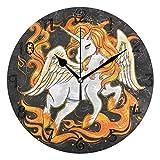 ホワイトユニコーンファイヤーホースラウンド壁時計円形プレートサイレント非カチカチ時計キッチンホームオフィス学校の装飾子供男の子女の子