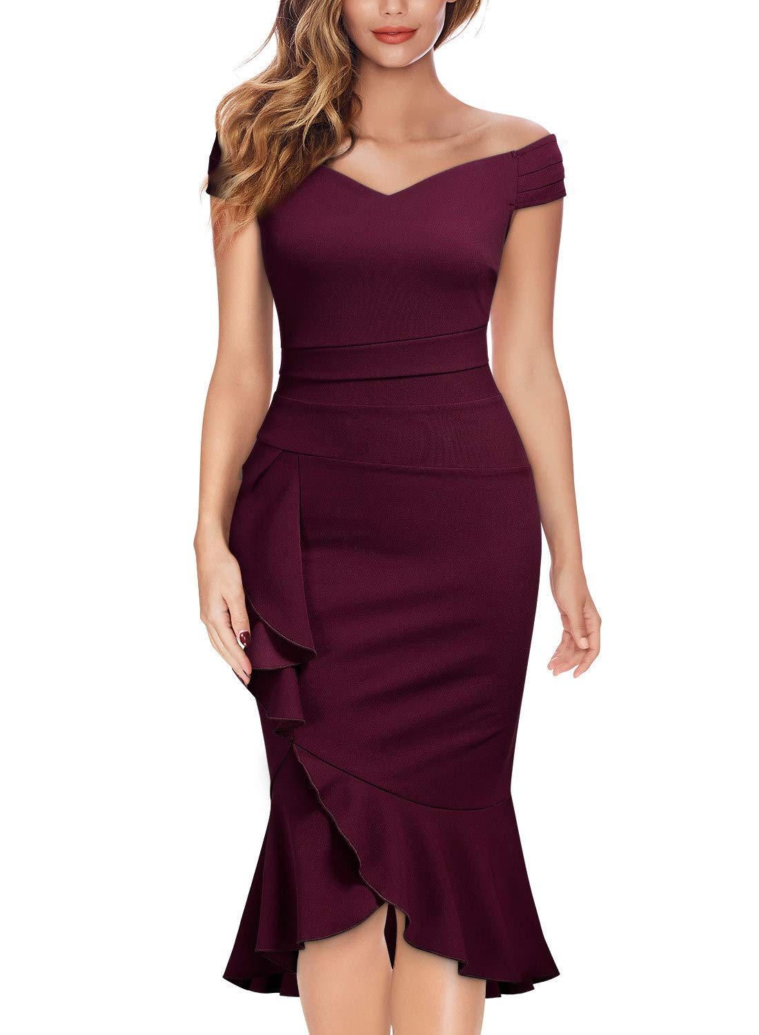 Party Dresses - Women's Off Shoulder V-Neck Ruffle Pleat Waist Bodycon Evening Cocktail Slit Formal Dress