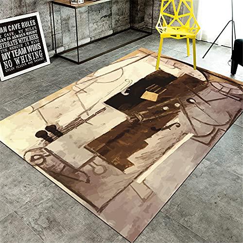 La alfombras alfombras Pelo Corto Diseño de Tinta Amarillo marrón Gris corredero con Alfombra para Resistente a la decoloración alfombras Lavables alfombras de habitacion Infantil 50*120CM