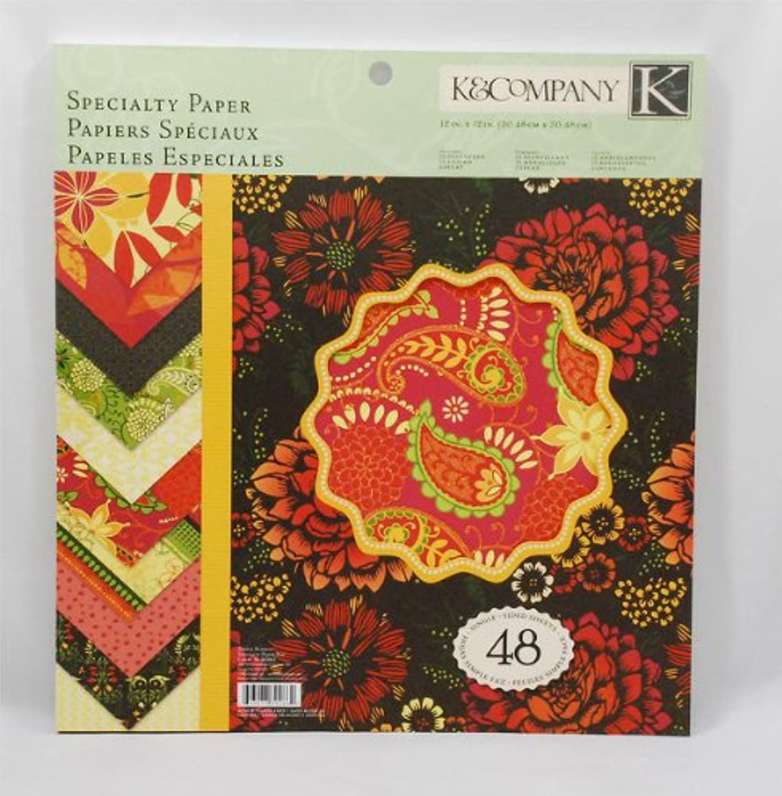 K&Company 30-302662 Specialty 12-Inch x 12-Inch Paper - 48-Sheets Simply Scarlet