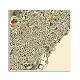 Bndsey Mapa Abstracto de la Ciudad de Barcelona, Imagen para decoración del hogar, Pintura en Lienzo nórdico, Carteles e Impresiones artísticos de Pared 60x60cm