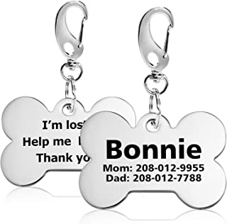 Personalized Stainless Steel Dog ID Tags, Custom Engraved, Up to 8 Lines of Text Front & Back, Laser Etched
