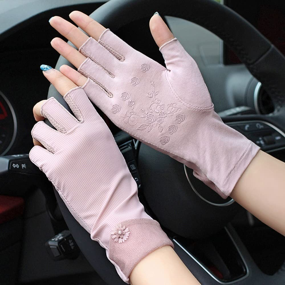 UimimiU Women's Breathable Silk Spring and Autumn Summer Driving Glove Ladies Cycling Thin Silk Sun Gloves Female Non-Slip Touch Screen Anti-UV Gloves One Size Driver Ms Mitten (Color : Purple)