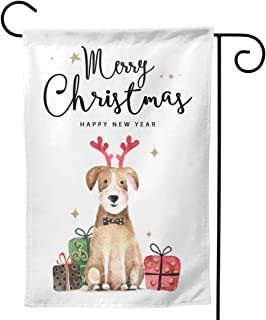 YISHOW Merry Christmas Reindeer Dog Garden Flag Double Sided Vertical Happy New Year Vacation Holiday Animals House Flags ...